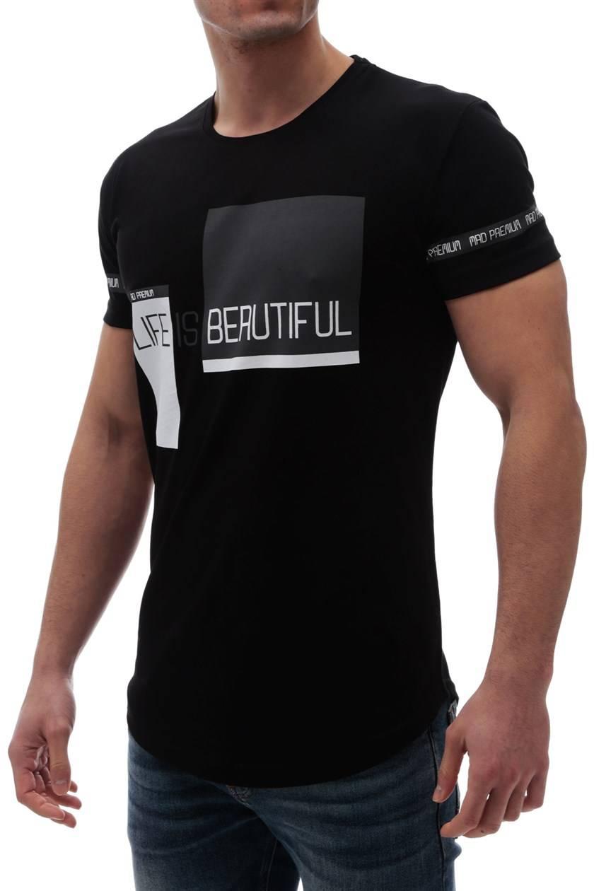9a3a49d6686 ανδρικό κοντομάνικο μπλουζάκι TROY BLACK